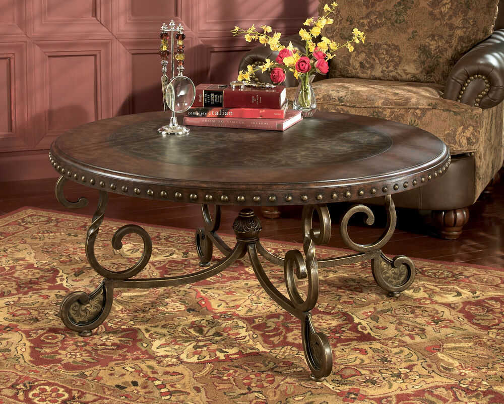 ROUND TRADITIONAL COCKTAIL COFFEE TABLE WOOD METAL OLD