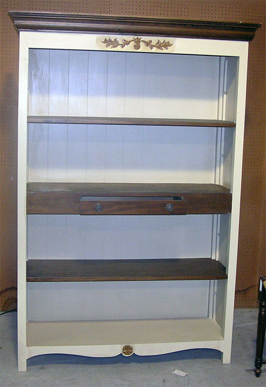 Distressed White Bookcase with Center Drawer Shelf  eBay