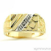 Mens Diamond Ring 14K Yellow Gold Great Pinky Ring