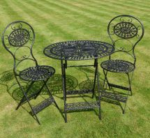 Shabby Chic Black Bistro Garden Set In Cast Iron & Steel