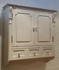 Vintage Chic Off White Antique effect Wall Cabinet Shabby ...