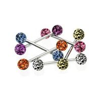 6pcs 14G Tongue Ring Tiger Animal Print Piercing Barbell ...