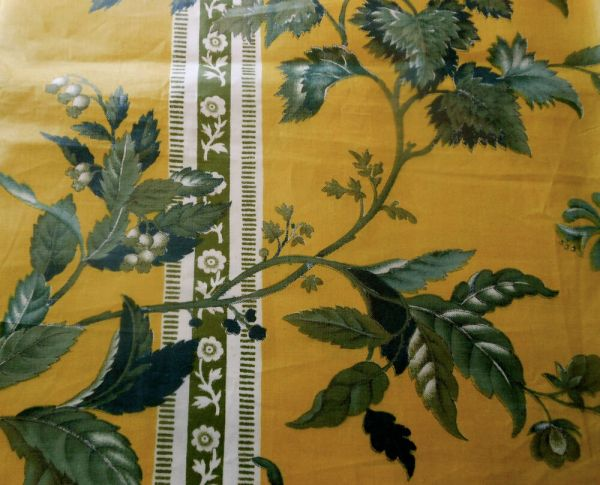 Antique 1850 French English Floral Chintz Fabric
