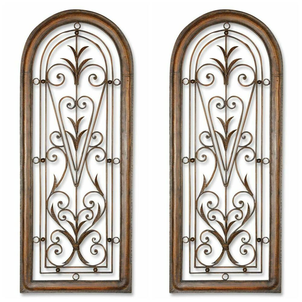 """TWO HUGE 50"""" BROWN ARCHED HAND FORGED METAL MEXICO STYLE"""
