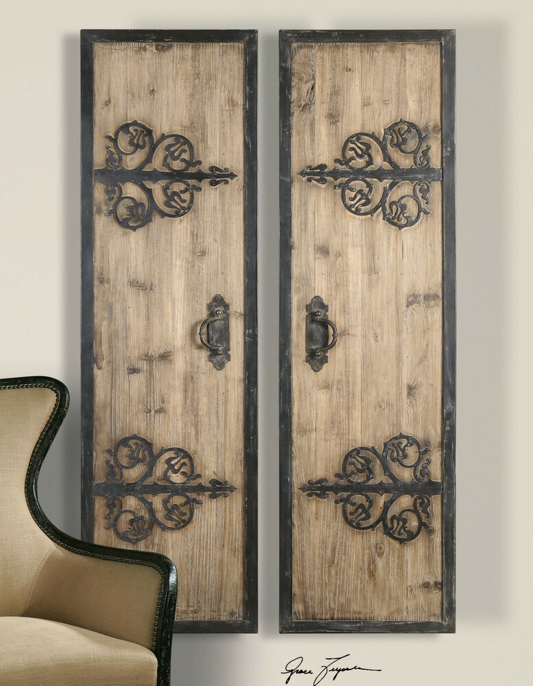 "TWO 71"" RUSTIC OVERSIZED DECORATIVE WALL PANELS DOORS"