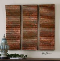 THREE OXIDIZED RIBBED COPPER SHEETING WALL PANELS / DOORS ...