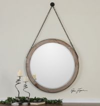 "34"" RUSTIC BROWN WOOD ROUND BEVELED WALL MIRROR HANGING"