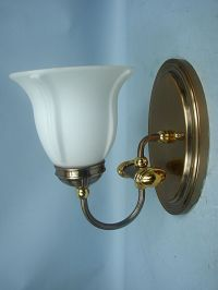 Copper & Brass Wall Mount Light Sconce With White Glass ...