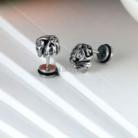 One Pair Punk Silver Stainless Steel Gothic Skull Stud