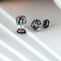 One Pair Punk Silver Stainless Steel Gothic Skull Stud ...