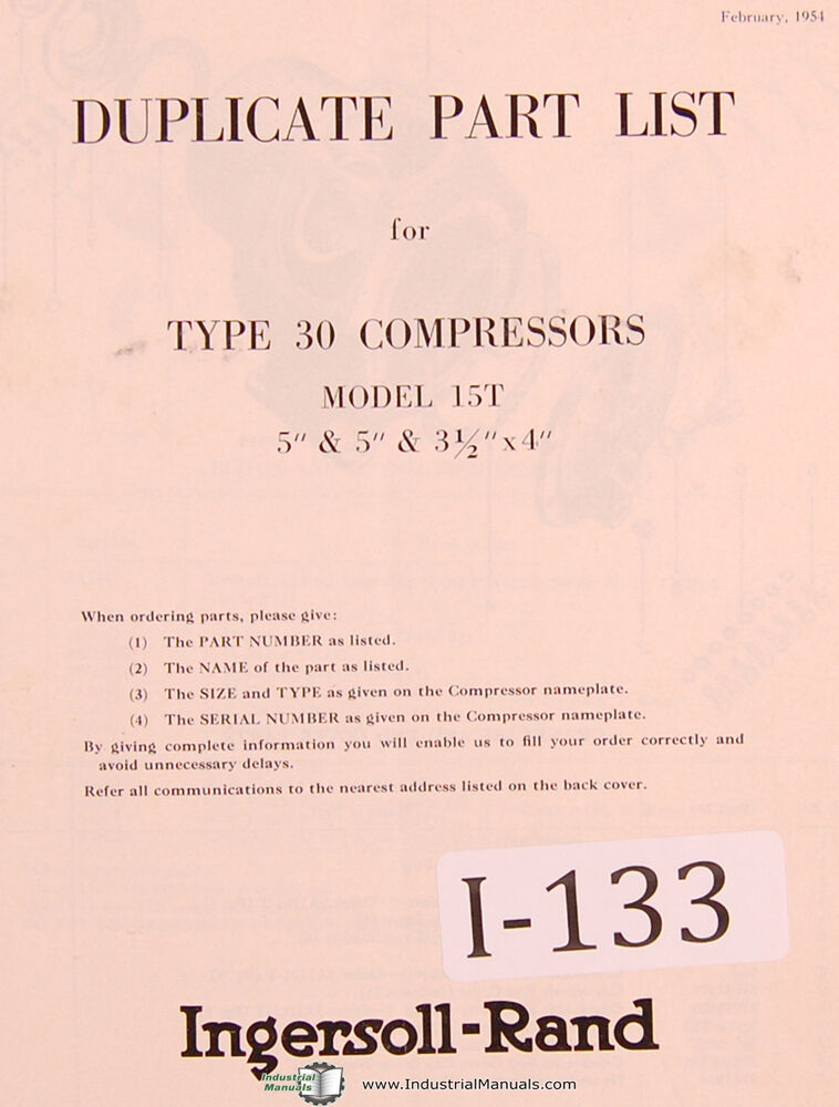 Ingersoll Rand Type 30 Model 15T, Air Compressor Parts