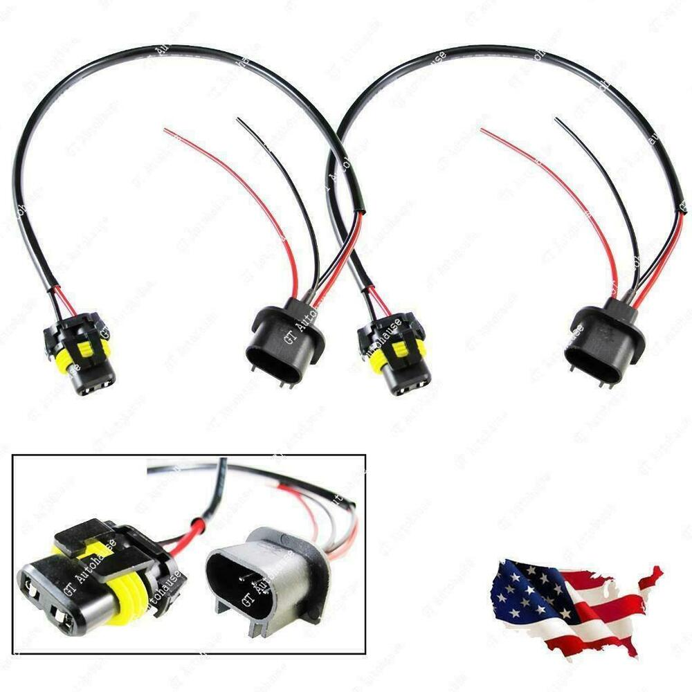 medium resolution of details about 2pcs h13 9008 sockets to 9006 bulbs headlight conversion adapter wire