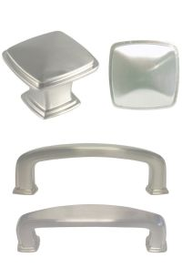 Satin nickel Square Kitchen Cabinet Drawer Knobs and Pulls ...