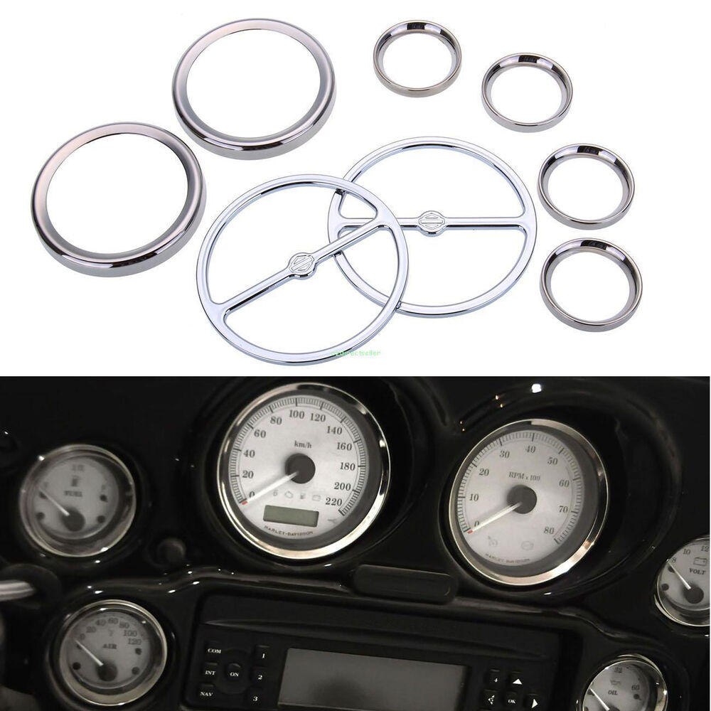 8pcs Chrome Speedometer Gauges Bezels and Horn Cover For