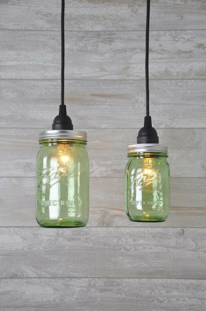 Mason Jar Industrial Pendant Light Green Vintage
