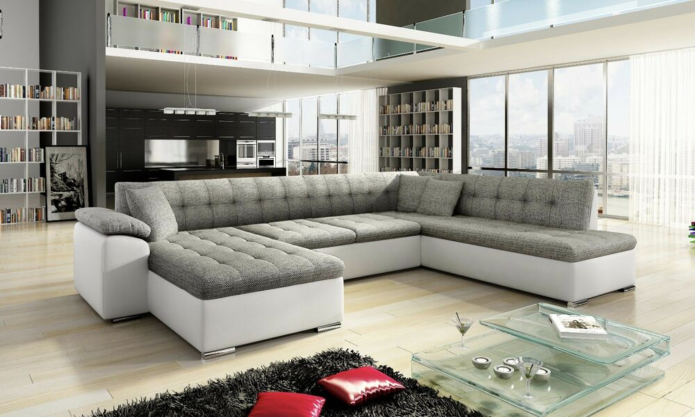 corner sofa leather ebay french connection zinc teal sale new scafati fabric & with bed in ...