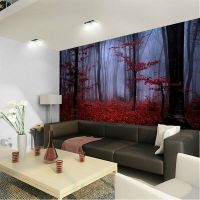 Foggy Forest Red Autumn Foliage 3D Full Wall Mural Photo ...