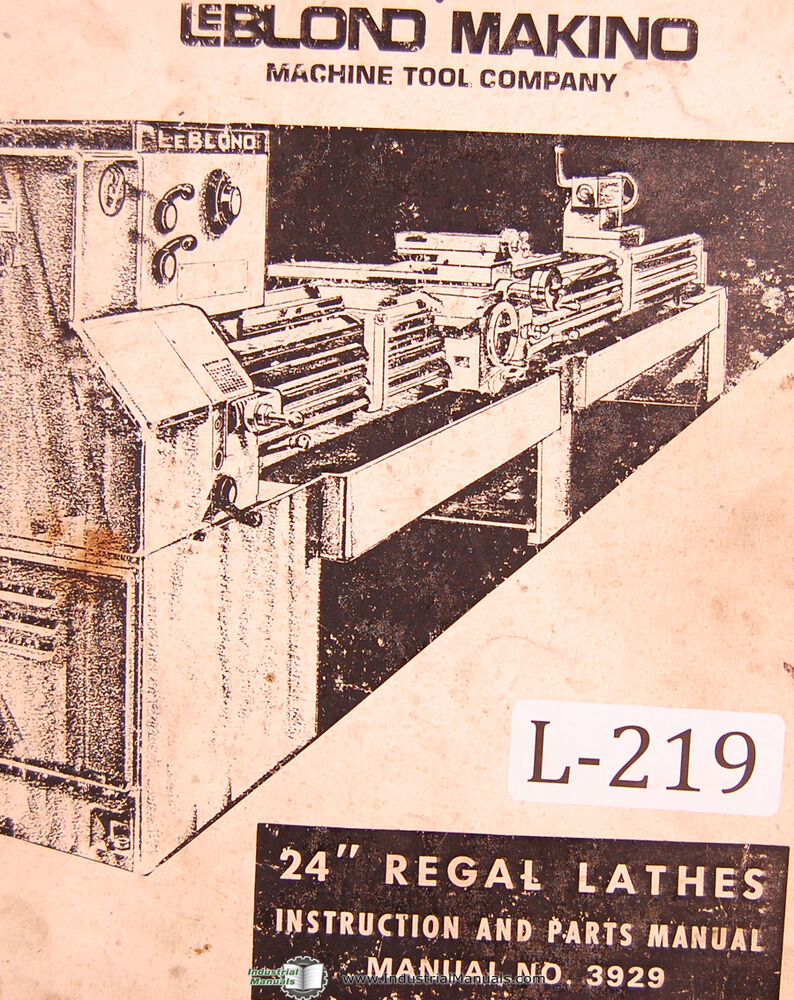 hight resolution of leblond makino 24 regal lathes 3929 instructions and parts manual year 1974 ebay