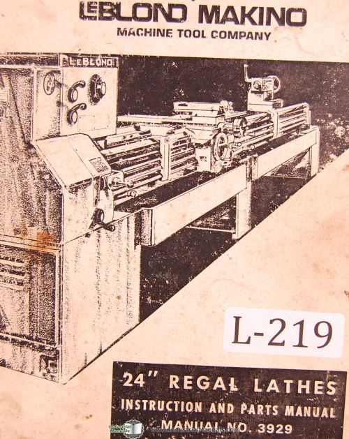 small resolution of leblond makino 24 regal lathes 3929 instructions and parts manual year 1974 ebay