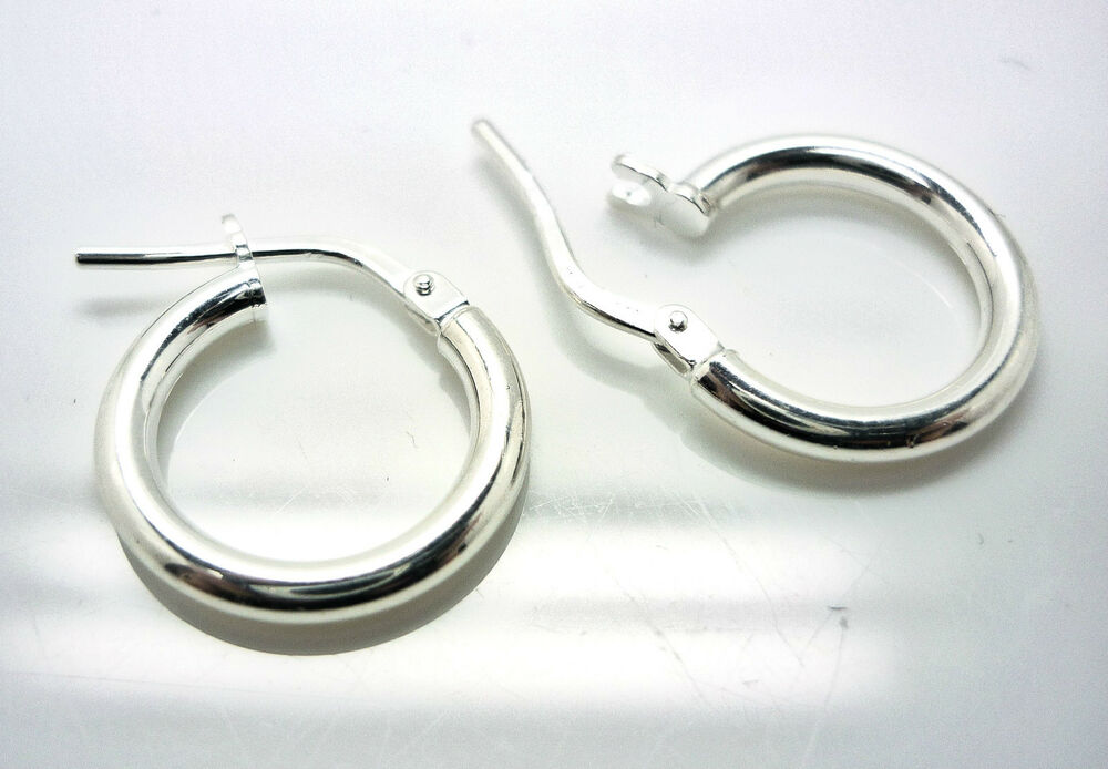 SILVER CREOLE EARRINGS 14mm SMALL STERLING SILVER PLAIN
