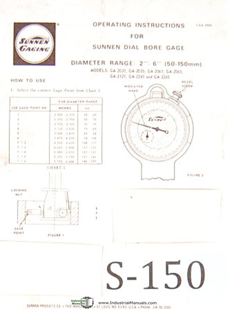 Sunnen Dial Bore Gages, GA 2000 Series, Operations