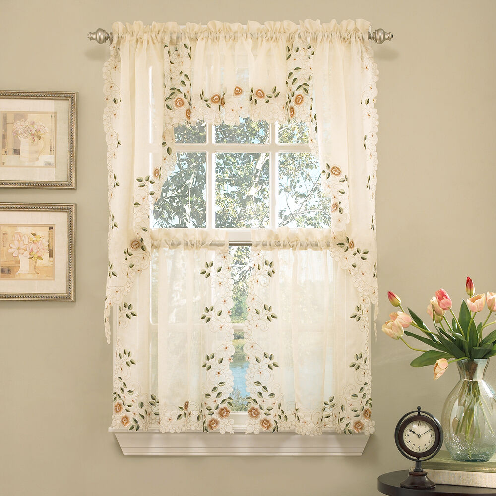 Floral Embroidered SemiSheer Linen Kitchen Curtain Choice Tier Valance or Swag  eBay