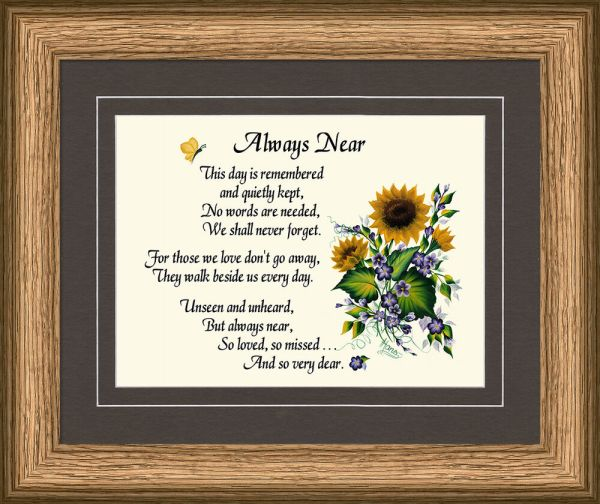Sympathy Poem Framed Memorial
