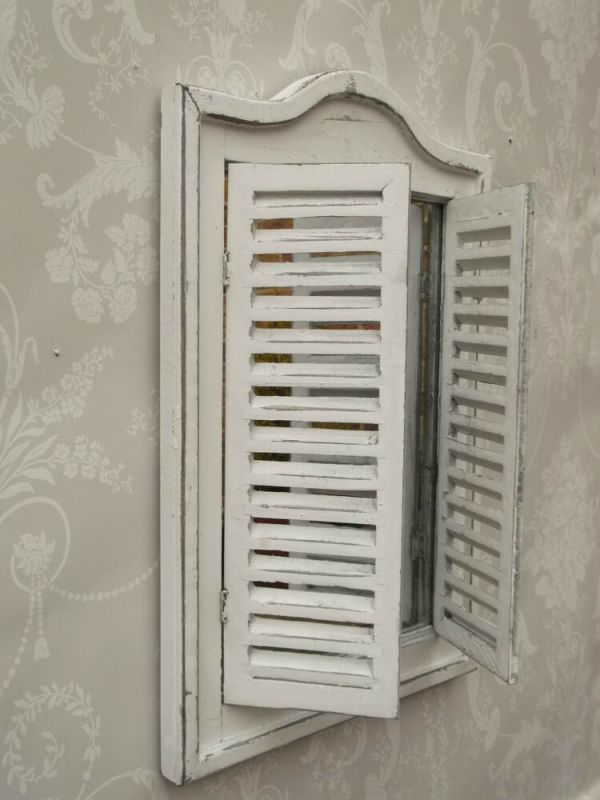 Shabby Chic French Vintage Style Shutter Mirror White