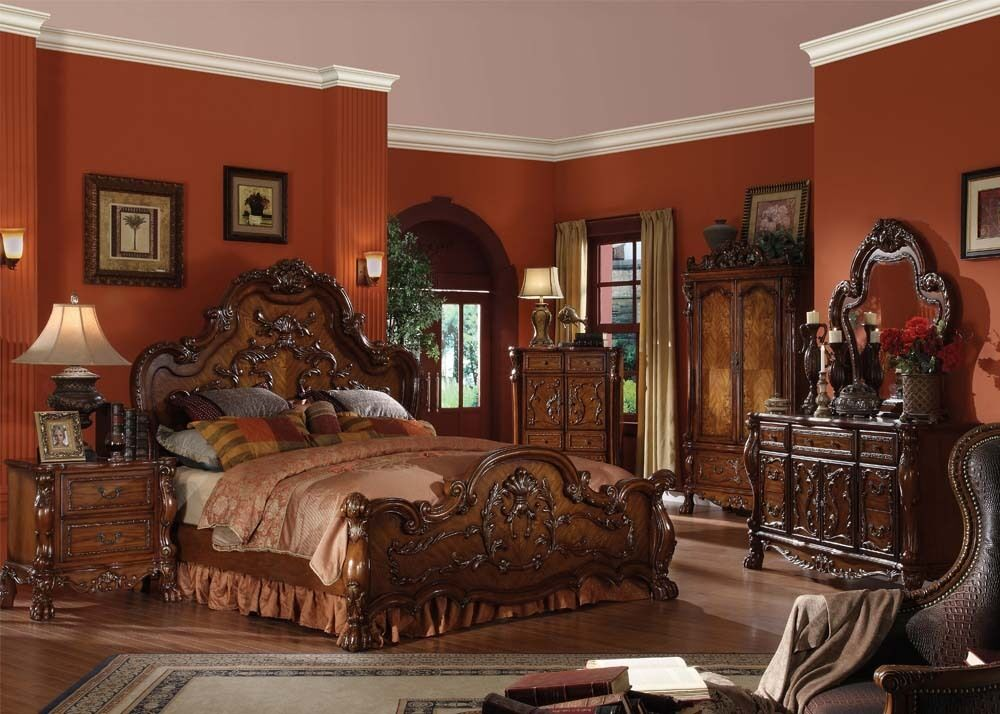 Traditional Antique Carved Wood Cherry Queen King Bed Frame For Luxury Bedroom  eBay