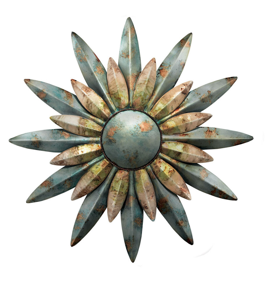 Aqua Sunburst Wall Decor