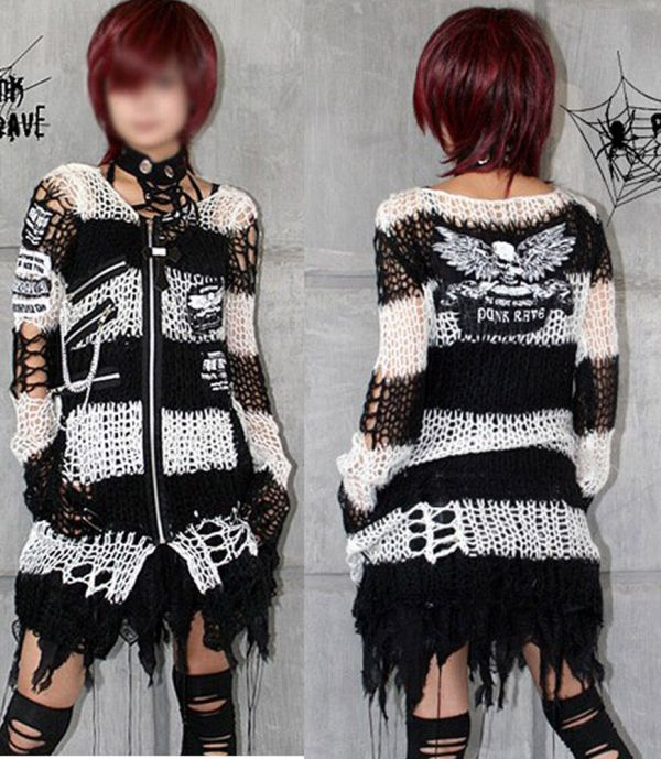 Chain Skull Mohair Sweater Punk Rave Gothic Lolita Top