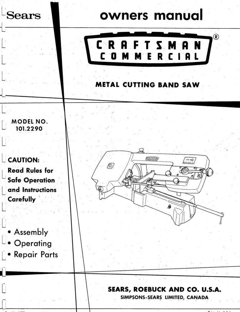 1973 Craftsman 101.2290 Commercial Metal Cutting Band Saw