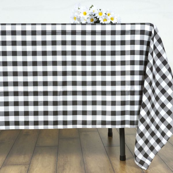 """Black White Checkered 70"""" Square Polyester Tablecloth"""