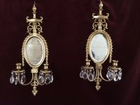 2 Victorian Brass Oval Beveled Mirror Double Arm Candle ...