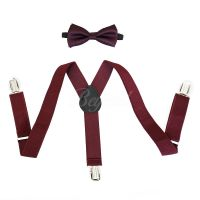 Burgundy Suspender and Bow Tie Set for Baby Toddler Kids ...
