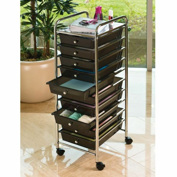 Seville 10 Drawer Black Rolling Cart - Office School Garage Tools Storage Crafts