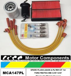 leads plug filter kit ford festiva wb wd b5 1 5 litre 1 97 12 97 painless wiring harness 10101 ford festiva 1 3l wiring harness [ 885 x 1000 Pixel ]