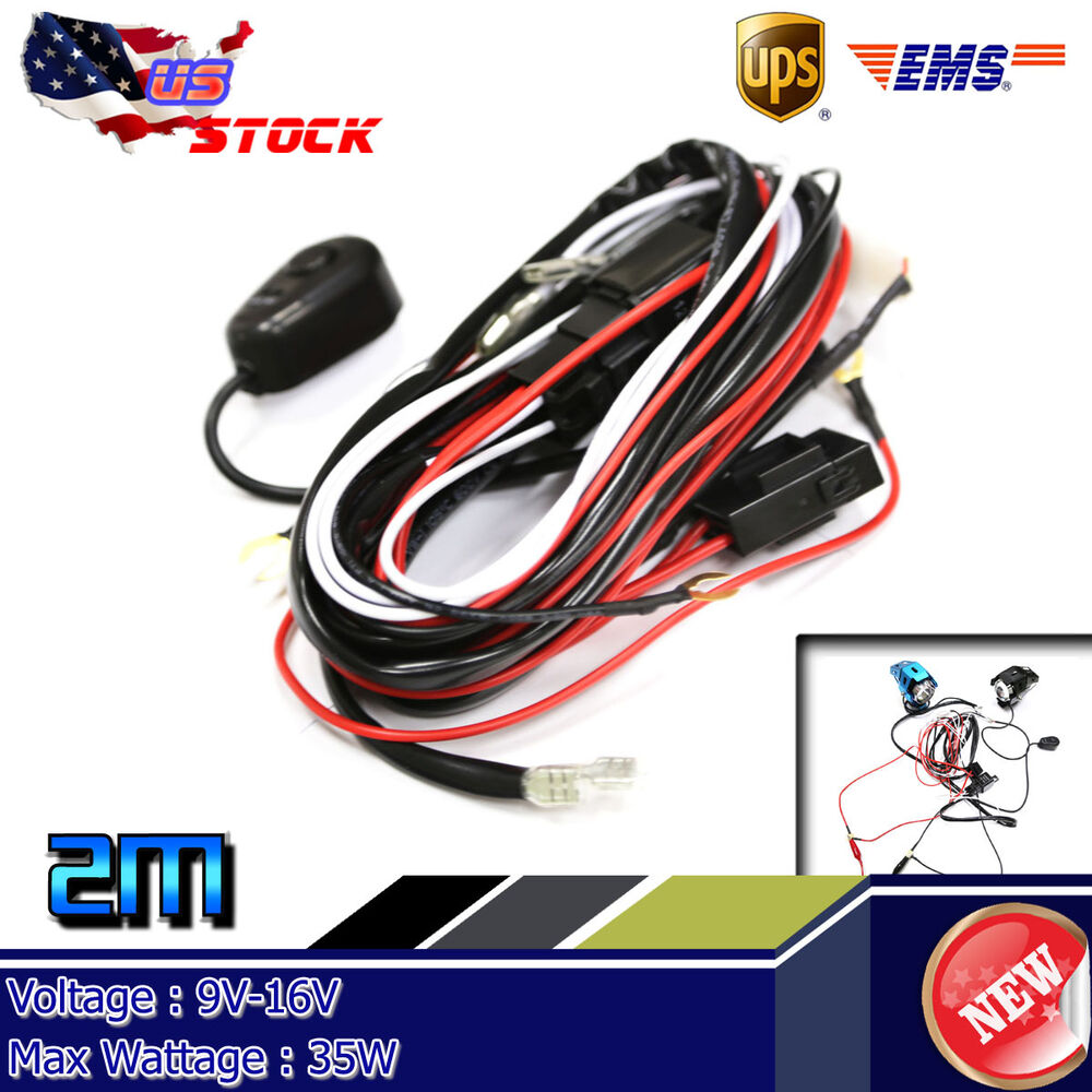 medium resolution of details about 12v 40a 35w led hid work fog light bar wiring harness kit on off switch relay