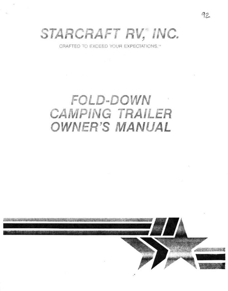1992 Starcraft Folding Camping Popup Trailer Owners Manual