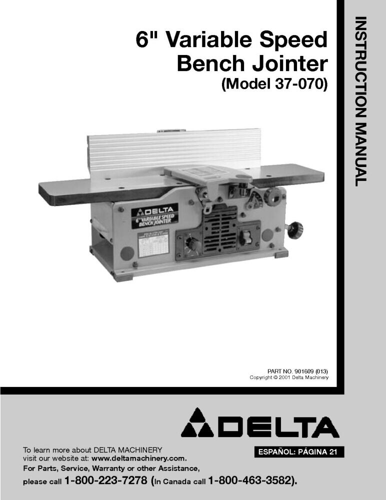 Delta 37 070 6 Quot Vriable Speed Bench Jointer Instruction