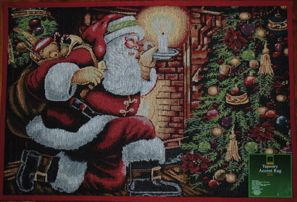 rooster kitchen rug island on casters santa claus rug~christmas tree~toys~holiday mat~fireplace ...