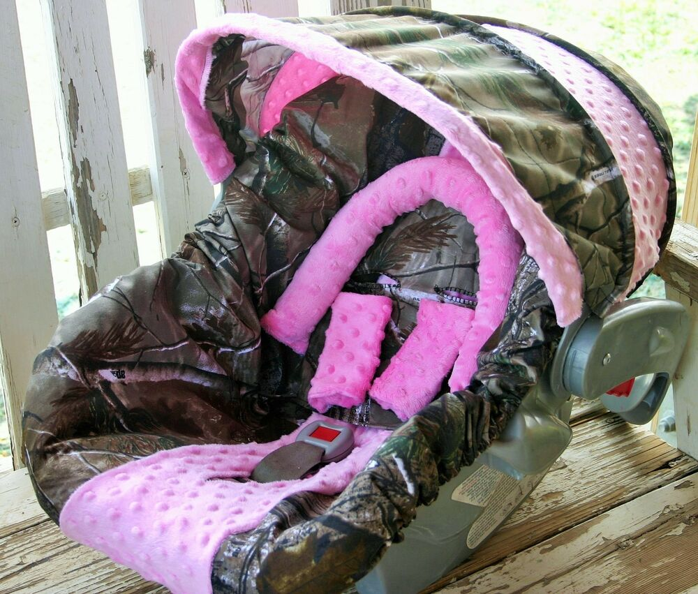realtree camo w/ baby pink minky infant car seat cover and