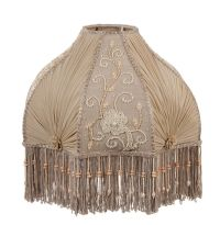 Victorian GWTW Embroided Fringed Glass Bead Antique Buff