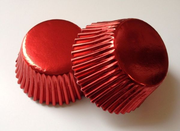 50 pcs Shiny Red Cupcake Liners Baking Cup Liner Aluminum