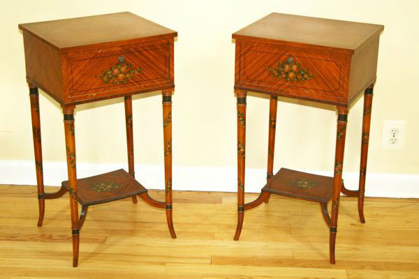 2 Antique Adams Wood Hand Painted Brown Accent Side Tables