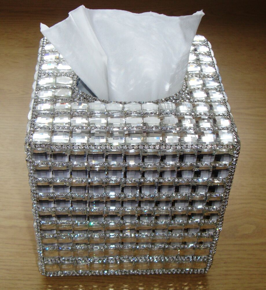 Bling Silver Square Diamante Diamond Crystal Tissue Paper