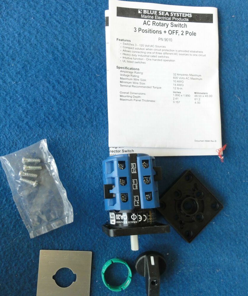 medium resolution of blue sea ac rotary switch 3positions off 2 poles part no 9010 aquafax 8 29010 ebay