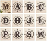 Metal Letter Wall Art Monogram Classic Scrollwork Hanging ...