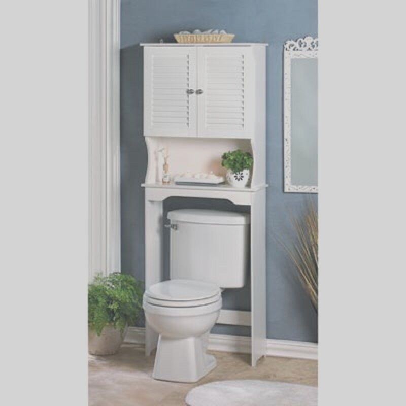Bathroom Storage Over The Toilet White Cabinet Organizer Shelf  New  eBay