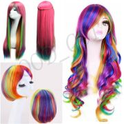 women rainbow straight curly